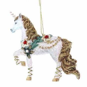 Gisela Graham Fantasy Unicorn with Flower & Jewels Christmas Tree Decoration