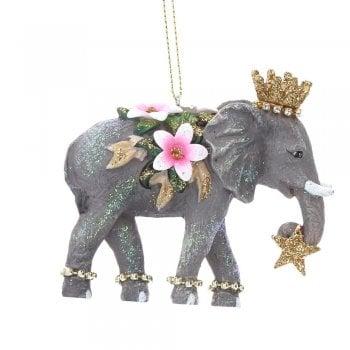 Gisela Graham Fantasy Elephant with Flower & Jewels (Trunk Down) Christmas Tree Decoration