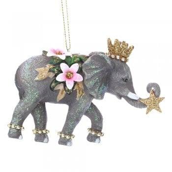 Gisela Graham Fantasy Elephant with Flower & Jewels (Trunk Up) Christmas Tree Decoration