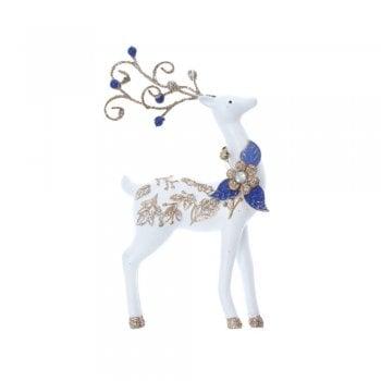 Gisela Graham Delft Blue White Gold Reindeer (small leaf) Christmas Tree Decoration