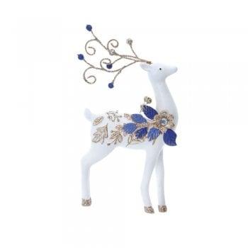 Gisela Graham Delft Blue White Gold Reindeer (large leaf) Christmas Tree Decoration