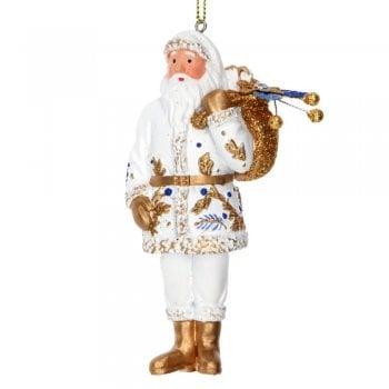 Gisela Graham Delft Blue White Gold Santa Christmas Tree Decoration