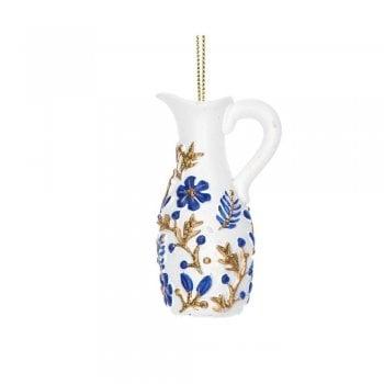 Gisela Graham Delft Blue White Gold Jug (White) Christmas Tree Decoration