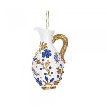Gisela Graham Delft Blue White Gold Jug (Gold) Christmas Tree Decoration