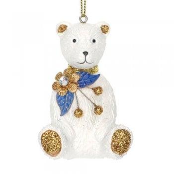 Gisela Graham Delft Blue White Gold Teddy Christmas Tree Decoration