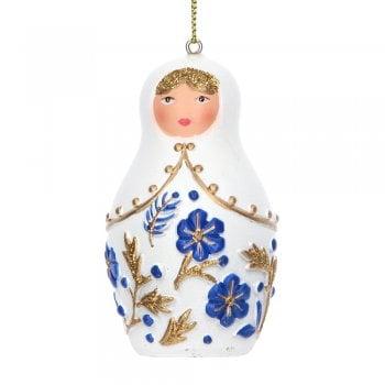 Gisela Graham Delft Blue White Gold Babushka Christmas Tree Decoration
