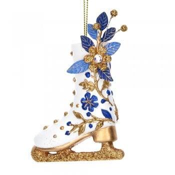 Gisela Graham Delft Blue White Gold Ice Skating Boot Christmas Tree Decoration