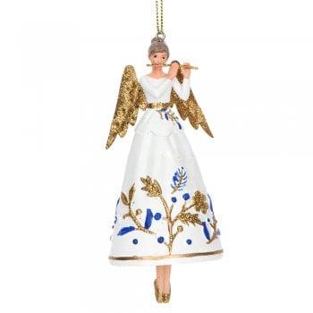 Gisela Graham Delft Blue White Gold Resin Angel (flute) Christmas Tree Decoration