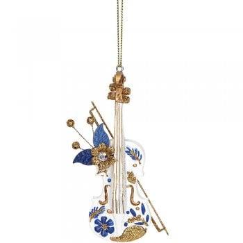 Gisela Graham Delft Blue White Gold Instrument (violin) Christmas Tree Decoration