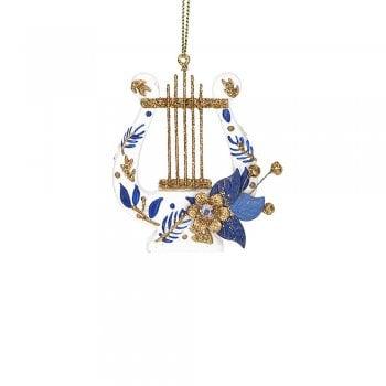 Gisela Graham Delft Blue White Gold Instrument (harp) Christmas Tree Decoration