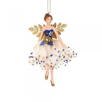 Gisela Graham Delft Blue White Gold Fairy (blue top) Christmas Tree Decoration