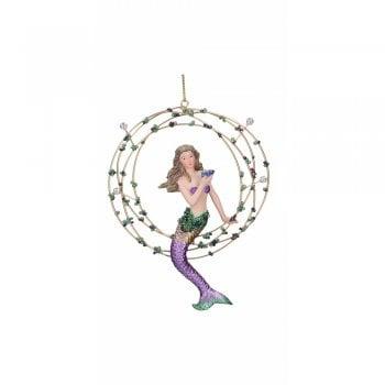 Gisela Graham Resin 'Atlantis' Mermaid in Gold Ring (Purple) Christmas Tree Decoration