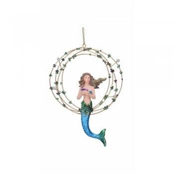 Gisela Graham Resin 'Atlantis' Mermaid in Gold Ring (Blue) Christmas Tree Decoration