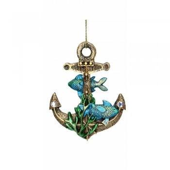 Gisela Graham Resin 'Atlantis' Gold Anchor (Blue) Christmas Tree Decoration