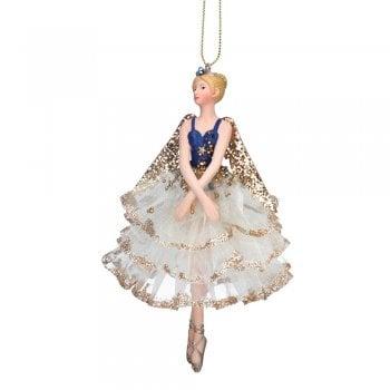 Gisela Graham Delft Blue White Gold Fairy (white skirt) Christmas Tree Decoration