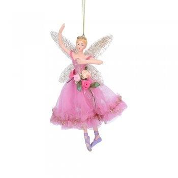 Gisela Graham Large Resin & Fabric Fairy Ballerina (Pink Top) Christmas Tree Decoration
