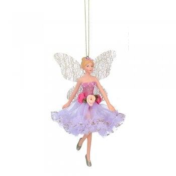 Gisela Graham Resin & Fabric Fairy Ballerina (Pink/Lilac) Christmas Tree Decoration