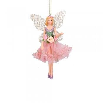 Gisela Graham Resin & Fabric Fairy Ballerina (Pink/Green) Christmas Tree Decoration