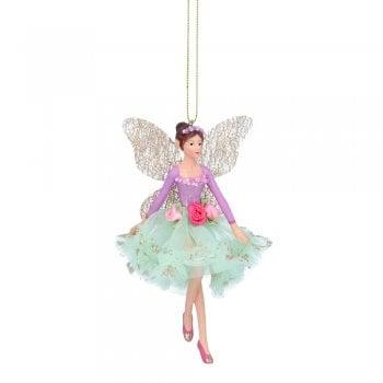 Gisela Graham Resin & Fabric Fairy Ballerina (Lilac/Green) Christmas Tree Decoration