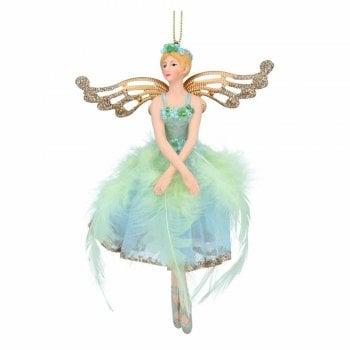 Gisela Graham Large Resin & Fabric Pale Green Blue Fairy Ballerina Christmas Tree Decoration