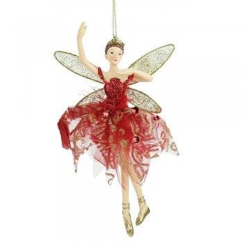 Gisela Graham Red & Gold Ballerina Fairy (arm up) Christmas Tree Decoration