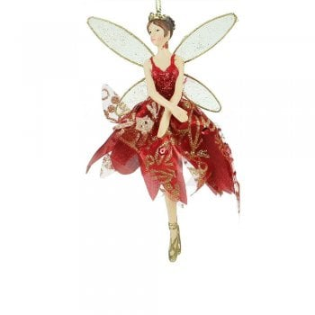 Gisela Graham Red & Gold Ballerina Fairy (arms down) Christmas Tree Decoration