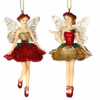 Gisela Graham Pair of Red & Gold Flower Fairy Christmas Tree Decoration