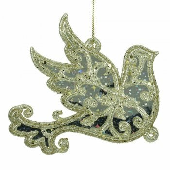Gisela Graham Gold Glitter and Mirror Dove Christmas Tree Decoration