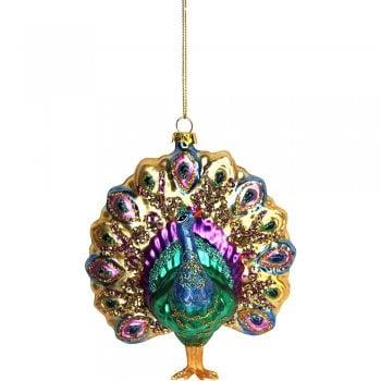 Gisela Graham Glass Peacock Bauble Christmas Tree Decoration