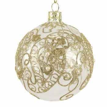 Gisela Graham Clear Glass with Gold Paisley Christmas Tree Decoration