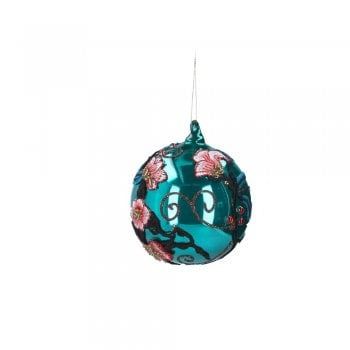 Gisela Graham Teal Embroidered Applique Bauble Christmas Tree Decoration