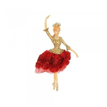 Gisela Graham Dancing Princess Fairy (arm up) With Red Rose Fabric Skirt Christmas Tree Decoration