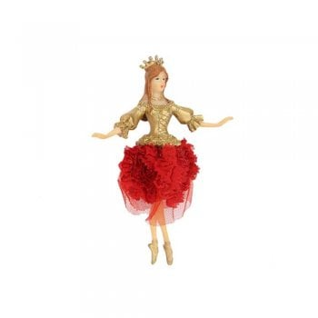 Gisela Graham Dancing Princess Fairy (arms out) With Red Rose Fabric Skirt Christmas Tree Decoration