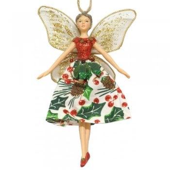 Gisela Graham Christmas Rose Fairy with Holly Skirt Christmas Tree Decoration
