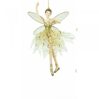 Gisela Graham Fairy (Arm Up) in a Gold Fabric Skirt Christmas Tree Decoration