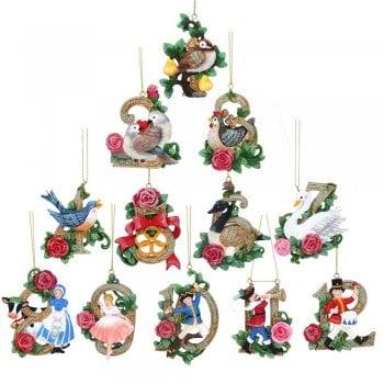 "Gisela Graham Set of 12 Resin ""Twelve Days of Christmas"" Christmas Tree Decorations"