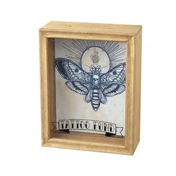 Heaven Sends Tattoo Fund Wooden & Perspex Money Box