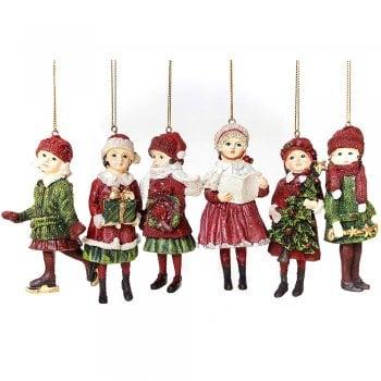 Gisela Graham Set of 6 Resin Nostalgic Victorian Children Christmas Tree Decorations