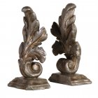 Antique Silver Acanthus Leaf Sturdy Bookends