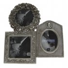 Vintage Chic Antique Silver Rose Triple Photo Frame