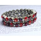 Two Shades of Red Crystal Stretch Bracelet
