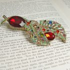 Rosie Fox Rainbow Leaves Brooch Pendant Hairclip