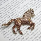 Two Tone Brown Swarovski Crystal Palomino Horse Brooch
