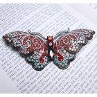 Large 13cm Red & Aqua Swarovski Crystal Butterfly Brooch