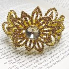 Lemonade Swarovski Crystal Gold Tone Crystal Gamour Exotic Flower Cuff Bracelet