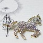 Swarovski Crystal Clear & Gold Horse Brooch