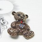 Swarovski Crystal Topaz Brown Sweetheart Teddy Bear Brooch