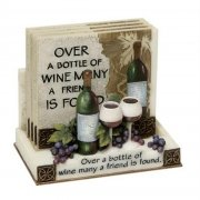 Set of 4 Coasters in a Stand Over a bottle of wine many a friend is found