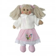 Powell Craft Mini 20cm Rag Doll with Pink Dress & White Cardigan