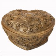 Antique Gold Heart Shaped Trinket Box